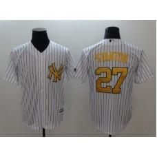 Men New York Yankees 27 Stanton White striped gold Game MLB Jerseys