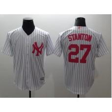 Men New York Yankees 27 Stanton White stripes red Game MLB Jerseys