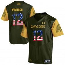 Men Norte Dame Fighting Irish 12 Wimbush Green Flag Customized NCAA Jerseys