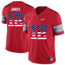 Men Ohio State 12 Jones Red Flag Customized NCAA Jerseys