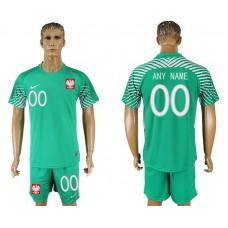Men 2018 World Cup Poland  green goalkeeper customized soccer jersey