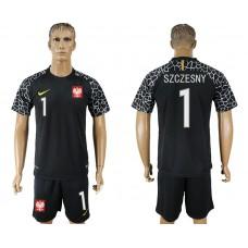 Men 2018 World Cup Poland black goalkeeper 1 soccer jersey