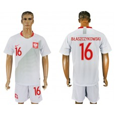 Men 2018 World Cup Poland home 16 white soccer jersey