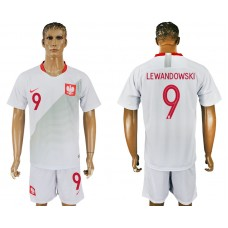 Men 2018 World Cup Poland home 9 white soccer jersey