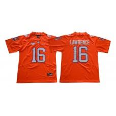 Men Clemson Tigers 16 Lawrence Orange NCAA Jerseys