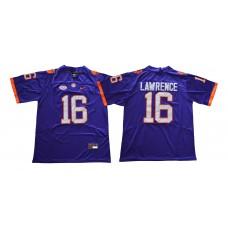 Men Clemson Tigers 16 Lawrence Purple NCAA Jerseys