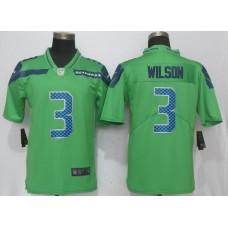 Men Seattle Seahawks 3 Wilson Green Nike Vapor Untouchable Limited NFL Jerseys