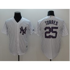 Men New York Yankees 25 Torres White Independent version Game MLB Jerseys