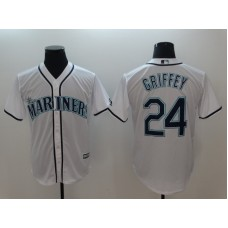 Men 2018 MLB Seattle Mariners 24 Griffey White Jerseys