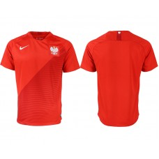 Men 2018 World Cup Poland away aaa version blank red soccer jersey