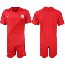 Men 2018 World Cup Poland away blank red soccer jerseys