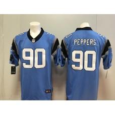 Men Carolina Panthers 90 Peppers Blue Nike 2018 NFL Draft Pick Game NFL Jersey