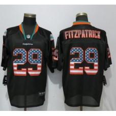 Men Miami Dolphins 29 Fitzpatrick USA Flag Fashion Black Elite Nike NFL Jerseys