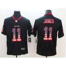 Men Atlanta Falcons 11 Jones Nike USA Flag Fashion Black Color Rush Limited NFL Jerseys