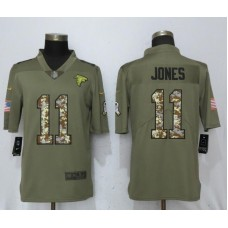Men Atlanta Falcons 11 Jones Olive Camo Carson 2017 Salute to Service Limited Nike NFL Jerseys