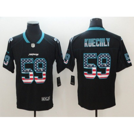 Men Carolina Panthers 59 Kuechly Nike USA Flag Fashion Black Color Rush Limited NFL Jerseys
