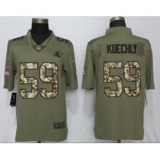 Men Carolina Panthers 59 Kuechly Olive Camo Carson 2017 Salute to Service Limited Nike NFL Jerseys