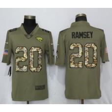 Men Jacksonville Jaguars 20 Ramsey Olive Camo Carson Nike Salute to Service Limited NFL Jerseys