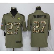 Men Jacksonville Jaguars 27 Fournette Olive Camo Carson Nike Salute to Service Limited NFL Jerseys