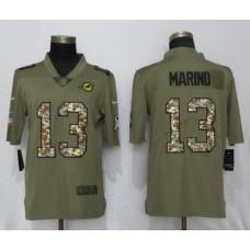 Men Miami Dolphins 13 Marino Olive Camo Carson 2017 Salute to Service Limited Nike NFL Jerseys