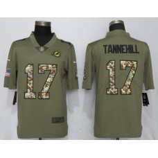 Men Miami Dolphins 17 Tannehill Olive Camo Carson 2017 Salute to Service Limited Nike NFL Jerseys