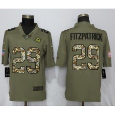 Men Miami Dolphins 29 Fitzpatrick Olive Camo Carson 2017 Salute to Service Limited Nike NFL Jerseys