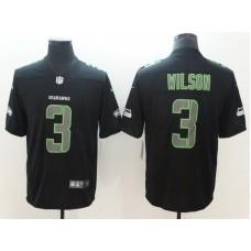 Men Seattle Seahawks 3 Wilson Nike Fashion Impact Black Color Rush Limited NFL Jerseys
