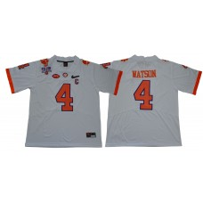 Men Clemson Tigers 4 Watson White Diamonds NCAA Jerseys