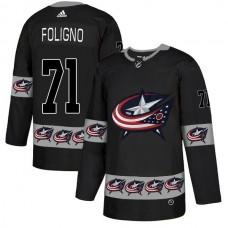 Men Columbus Blue Jackets 71 Foligno Black Adidas Fashion NHL Jersey