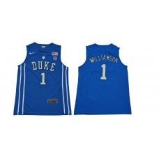 Men Duke Blue Devils 1 Williamson Blue NBA NCAA Jerseys