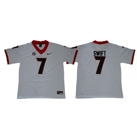 Men Georgia Bulldogs 7 Swift Legend White NCAA Jerseys