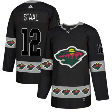 Men Minnesota Wild 12 Staal Black Adidas Fashion NHL Jersey