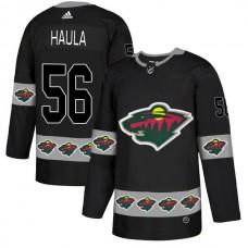 Men Minnesota Wild 56 Haula Black Adidas Fashion NHL Jersey