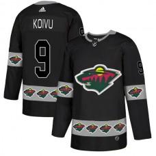Men Minnesota Wild 9 Koivu Black Adidas Fashion NHL Jersey