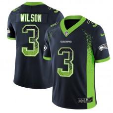 Men Seattle Seahawks 3 Wilson Blue Drift Fashion Color Rush Limited NFL Jerseys