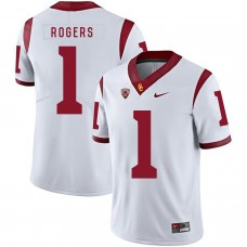 Men USC Trojans 1 Rogers White Customized NCAA Jerseys