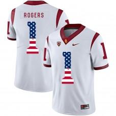 Men USC Trojans 1 Rogers White Flag Customized NCAA Jerseys