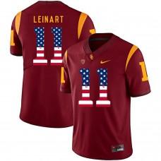 Men USC Trojans 11 Leinart Red Flag Customized NCAA Jerseys