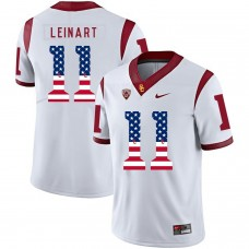 Men USC Trojans 11 Leinart White Flag Customized NCAA Jerseys