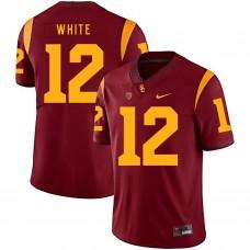 Men USC Trojans 12 White Red Customized NCAA Jerseys