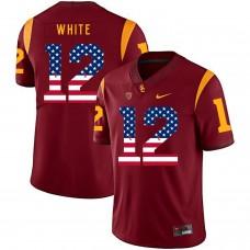Men USC Trojans 12 White Red Flag Customized NCAA Jerseys