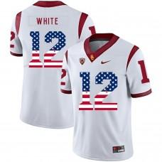 Men USC Trojans 12 White White Flag Customized NCAA Jerseys