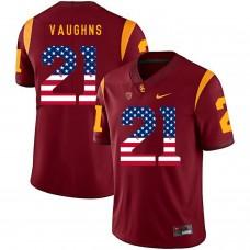 Men USC Trojans 21 Vaughns Red Flag Customized NCAA Jerseys