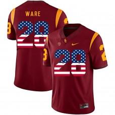 Men USC Trojans 28 Ware Red Flag Customized NCAA Jerseys