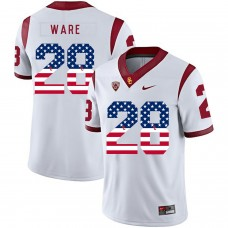 Men USC Trojans 28 Ware White Flag Customized NCAA Jerseys