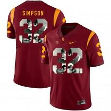 Men USC Trojans 32 Simpson Red Fashion Edition Customized NCAA Jerseys