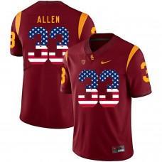 Men USC Trojans 33 Allen Red Flag Customized NCAA Jerseys