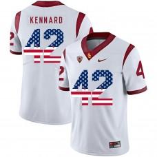 Men USC Trojans 42 Kennard White Flag Customized NCAA Jerseys