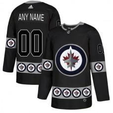 Men Winnipeg Jets 00 Any name Black Custom Adidas Fashion NHL Jersey