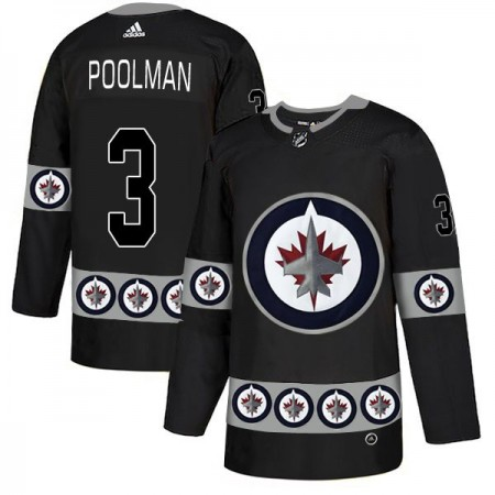 Men Winnipeg Jets 3 Poolman Black Adidas Fashion NHL Jersey